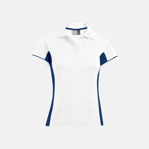Vit/Indigo (dam) Pikétröjor i funktionsmaterial med tryck