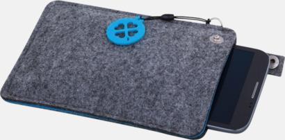 Grå/Blå (stor 2) Mobilfodral i filt med reklamtryck