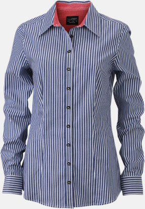 Marinblå-Vit/Röd (dam) Blusar & skjortor i randigt mönster med reklamtryck