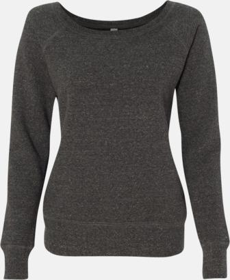 Charcoal-Black Triblend (heather) Spräckliga damtröjor med vid halsöppning - med reklamtryck