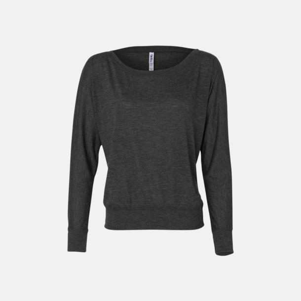 Dark Grey Heather Långärmade dam t-shirts med reklamtryck