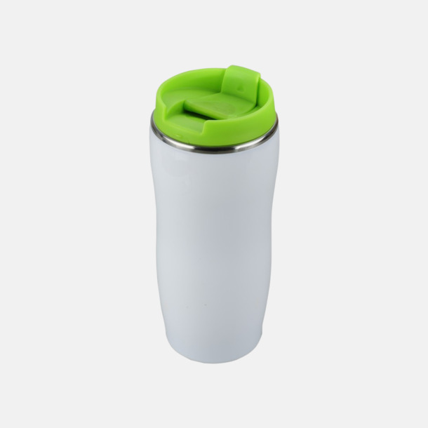 Vit / Limegrön Take away termosmuggar med reklamtryck