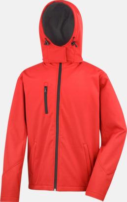 Röd/Svart (herr) Hooded softshell-jackor i herr- & dammodell med reklamtryck