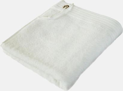Vit Handdukar med metallögla och snöre - med brodyr
