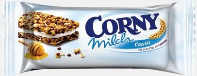 Milk (30 gram) Müslibars i flera varianter från Corny med reklamtryck