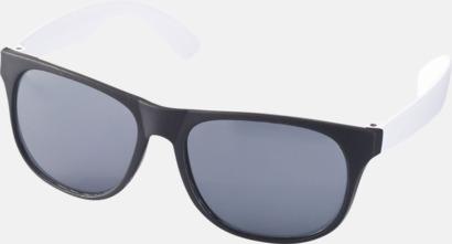 Vit / Svart Klassiska solglasögon med bågar i kontrasterande färg - med tryck
