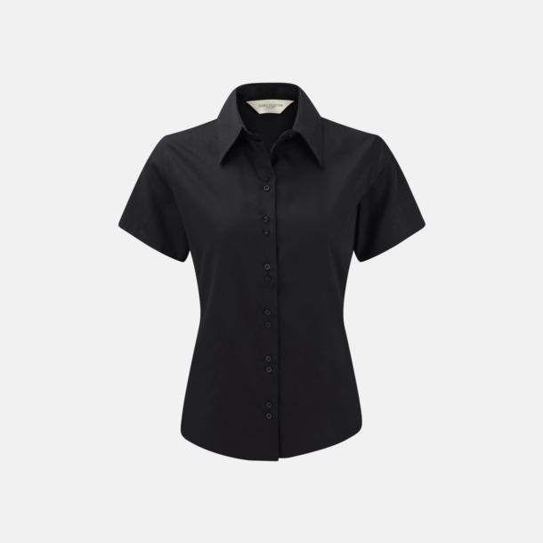 Svart (kortärmad) Strykfri damskjorta med reklamlogo