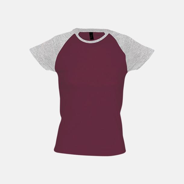 Burgundy/Grey Melange (dam) T-shirts i herr- och dammodell med kontrasterande färg - med reklamtryck