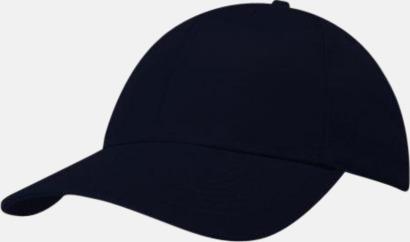 Marinblå miljövänliga kepsar med reklambrodyr