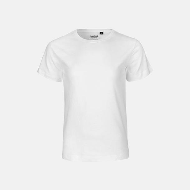 Vit Ekologiska t-shirts för barn av ekologisk bomull - med tryck
