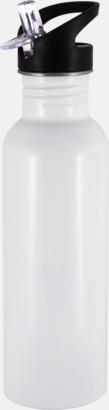 Vit 0,75 liters sportflaskor i rostfritt stål med reklamtryck
