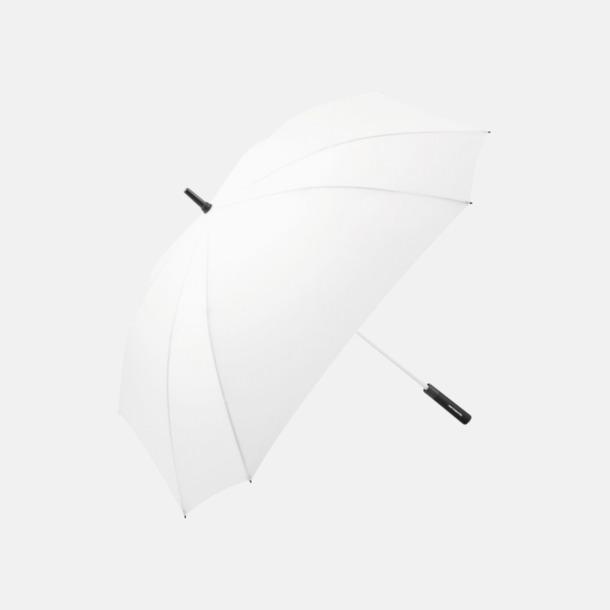 Vit Fyrkantiga paraplyer med färgade skaft - med reklamtryck