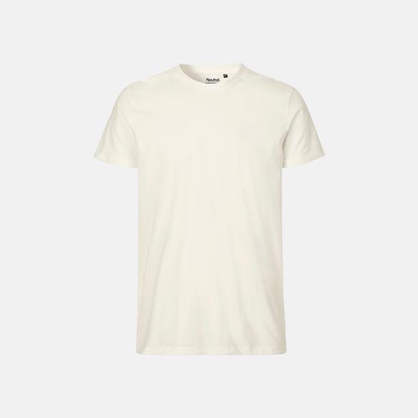 Natur (herr) Fitted t-shirts i ekologisk fairtrade-bomull med tryck