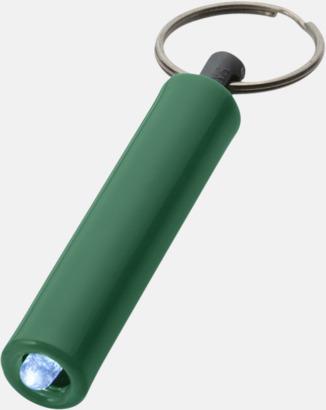 Grön Ficklampa med nyckelring i retrodesign med reklamtryck