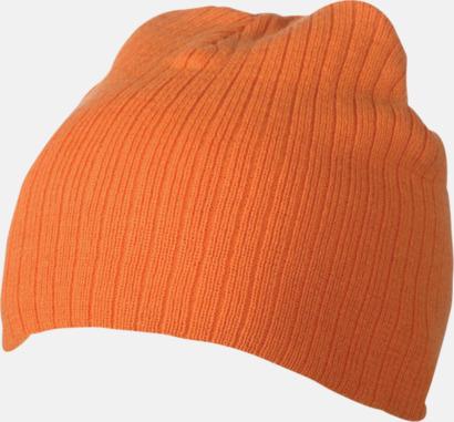 Orange Ribbstickad mössa i flera olika fäger