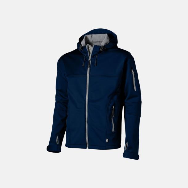 Marinblå/Grå  solid (herr) Soft-shell-jackor i herr- & dammodell med reklamtryck