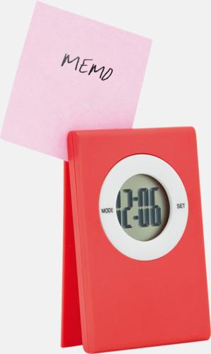 Röd Klocka och memohållare med reklamtryck