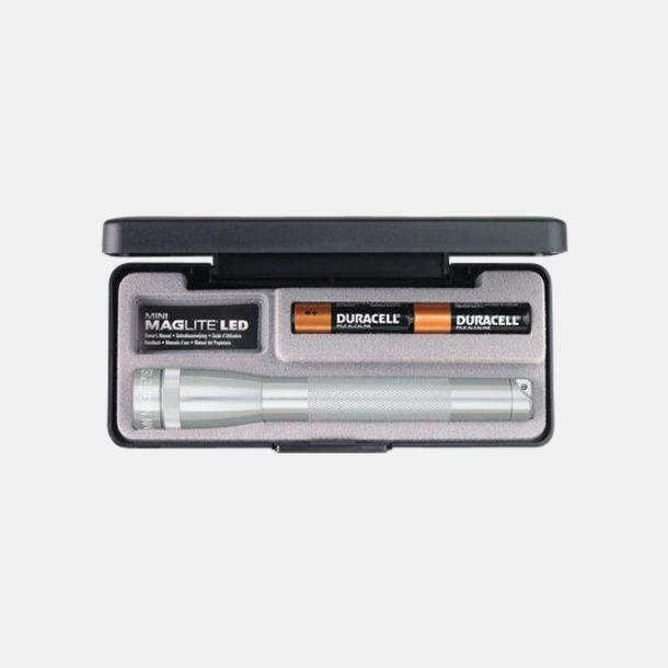 Silver Maglites Mini LED AA med reklamlogga