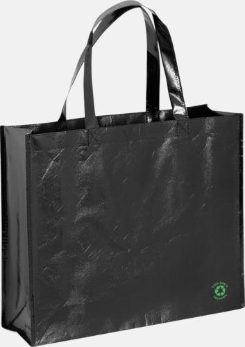 Svart Shoppingbagar med korta handtag - med tryck