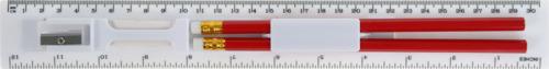 Vit Linjal med pennor, vässare och sudd - med tryck