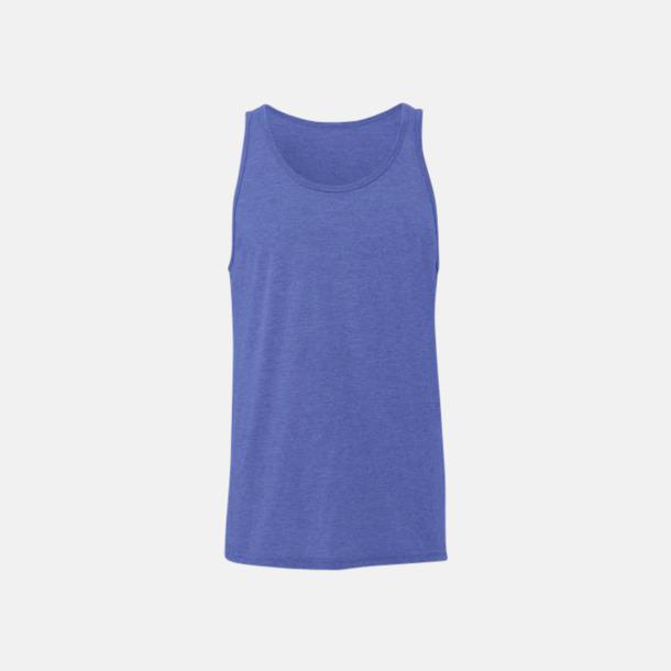 Blue Triblend (heather) Bomullslinnen i unisexmodell med reklamtryck