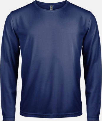 Navy Sport t-shirts med långa ärmar för män - med reklamtryck