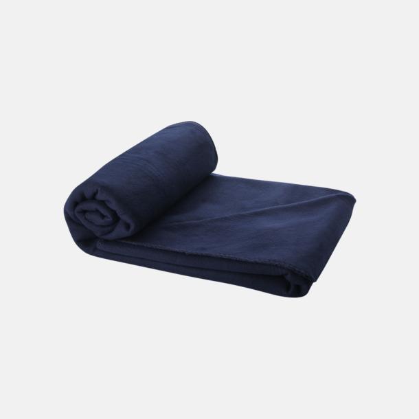 Marinblå Fleecefilt och bag - med reklamtryck
