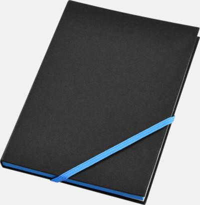 Svart/Neonblå (A5) Anteckningsböcker i A5- och A6-format med reklamtryck