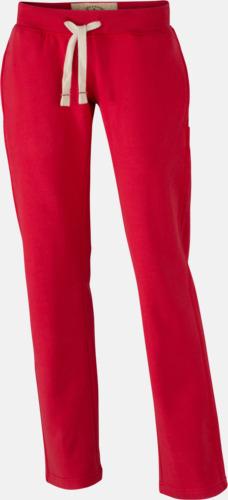 Röd (dam) Färgglada mjukisbyxor i herr- och dammodell med reklamtryck