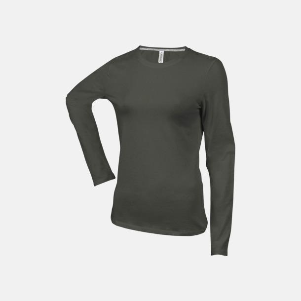 Dark Khaki (crewneck, dam) Långärmad t-tröja med rundhals för herr och dam med reklamtryck