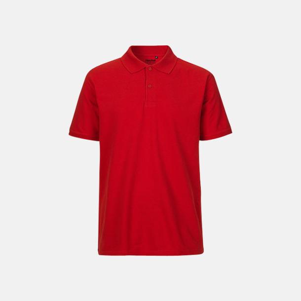 Röd (herr) Fairtrademärkta pikétröjor i herr- och dammodeller med brodyr
