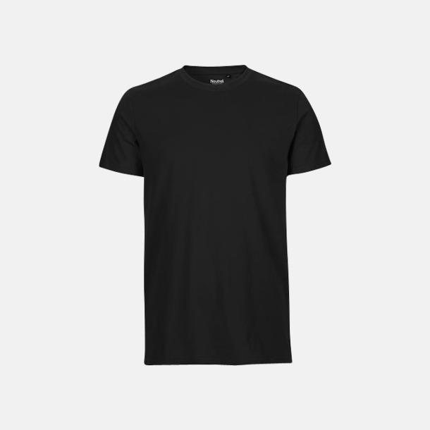 Svart (herr) Fitted t-shirts i ekologisk fairtrade-bomull med tryck