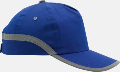 Blå Varselkepsar med reflexband med reklamtryck