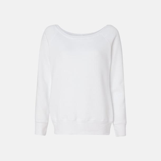 Solid White Triblend Spräckliga damtröjor med vid halsöppning - med reklamtryck