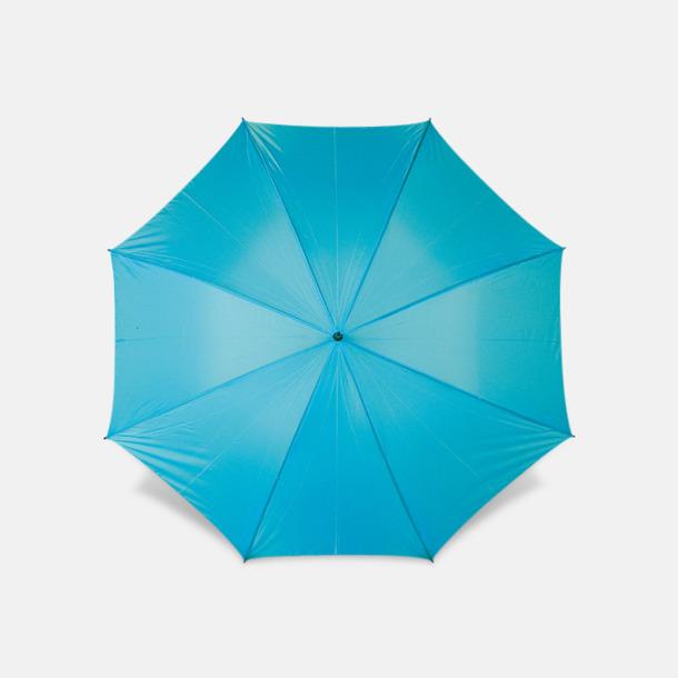 Ljusblå Paraplyer med bärrem - med reklamtryck