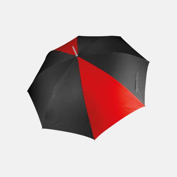 Svart/Röd Tvåfärgade golfparaplyer med reklamtryck