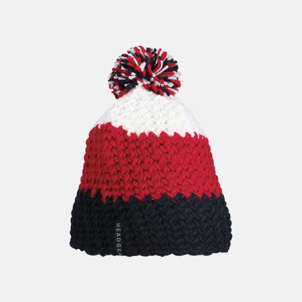 Marinblå/röd/vit Grovvirkade toppluvor med brodyr