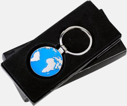Runda nyckelringar med världsmotiv med reklamlogga