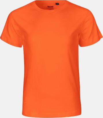 Orange Ekologiska t-shirts för barn av ekologisk bomull - med tryck