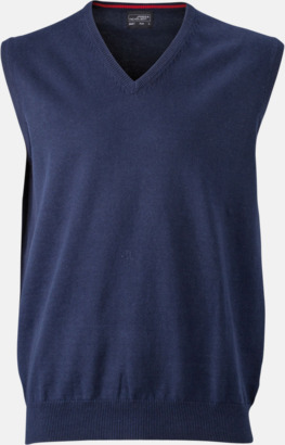 Marinblå V-ringad pullover med eget tryck