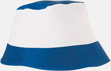 Royal Blå / Vit Bomullshattar i enfärgade- och tvåfärgade varianter med reklamtryck