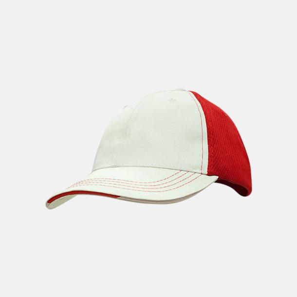 Vit / Röd Bomullskepsar med funktionsnät - med reklambrodyr
