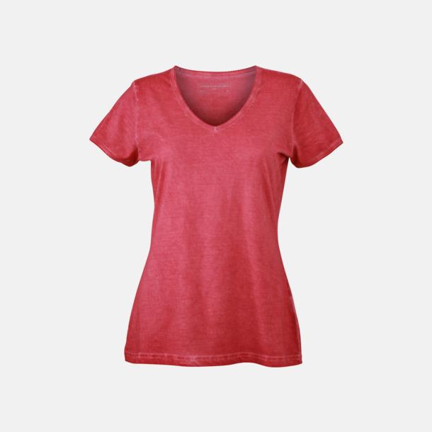 Röd (dam) Trendiga v-neck t-shirts i herr- och dammodell med reklamtryck