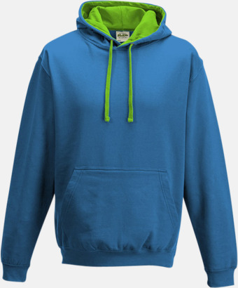 Sapphire Blue/Limegrön Huvtröjor med insida av luva och dragsko i kontrasterande färg - med reklamtryck