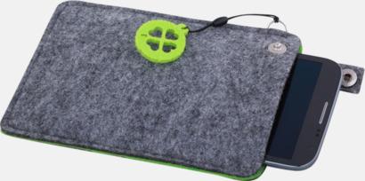 Grå/Limegrön (stor 4) Mobilfodral i filt med reklamtryck