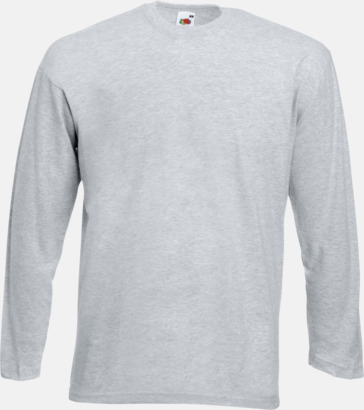 Heather Grey Långärmad t-shirt med reklamtryck