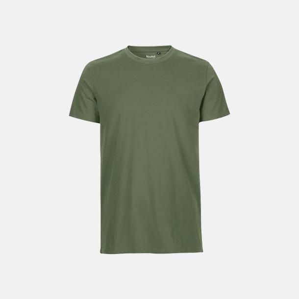 Military (herr) Fitted t-shirts i ekologisk fairtrade-bomull med tryck