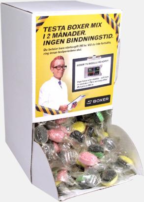 Godisautomat med etikett (se tillval) Smörkolor med chokladöverdrag - med reklamtryck