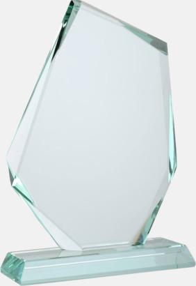 Vackert formade statyetter i kristall med reklamtryck