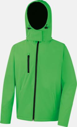 Vivid Green/Svart (herr) Hooded softshell-jackor i herr- & dammodell med reklamtryck